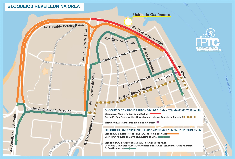 Porto Alegre, RS 26/12/2018: Mapa dos bloqueios e desvios para festa de Réveillon na Orla do Guaíba. Arte: Carlos Roberto Rohde dos Santos EPTC/PMPA